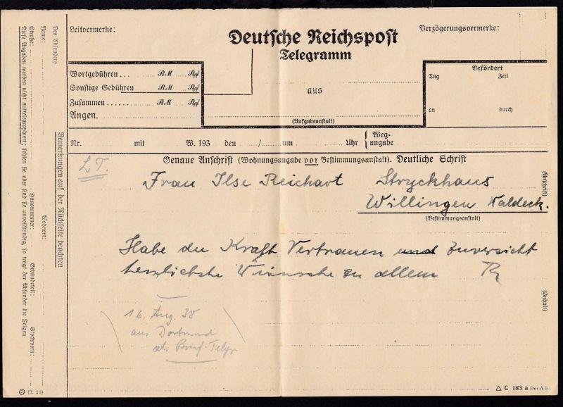 1938 Deutsche Reichspost Telegramm (Formular C 183 a Din A 5), gefaltet