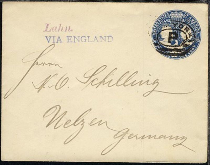 ca 1895 L1 Lahn + L1 VIA ENGLAND auf GSU ab New York nach Uelzen