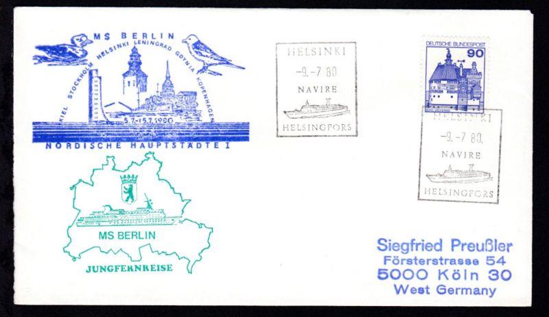 HELSINKI HELSINGFORS NAVIRE 9.7.80 + Cachet Jungfernreise MS Berlin au Brief