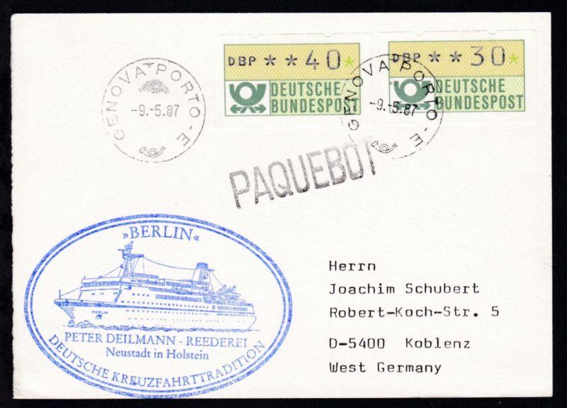 L1 Paquebot + OSt. Genua 9.5.87 +  Cachet MS Berlin auf Postkarte