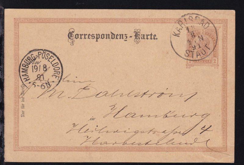 Kaiser Franz Joseph 2 Kr. mit K1 KARLSBAD STADT 18.8.91 nach Hamburg-Pöseldorf