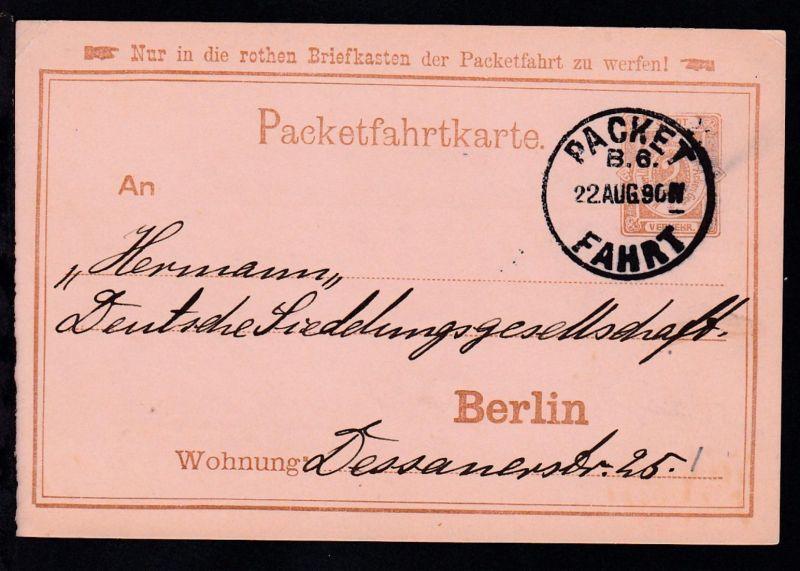 Berlin 1890 Packetfahrt Ganzsache 2 Pfg.