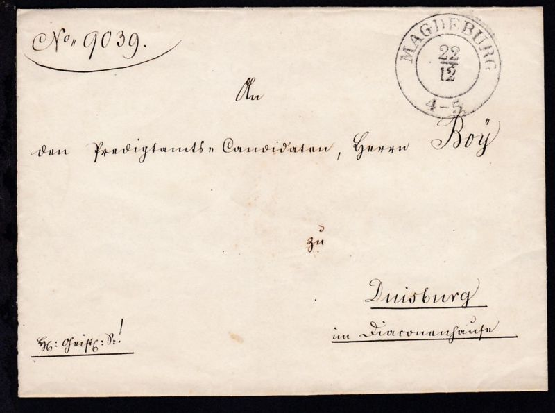 Magdeburg 1847 K2 MAGDEBURG 22.12. auf Briefhülle nach Duisburg