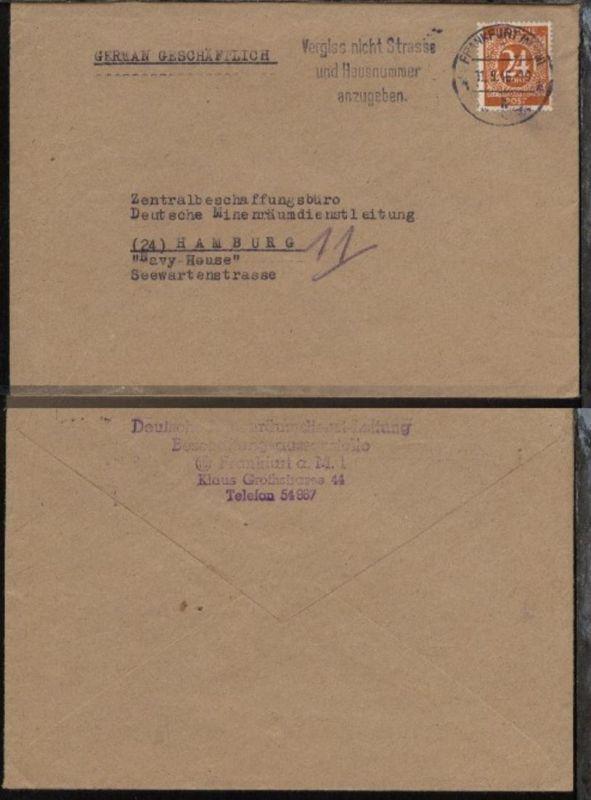 Maschinen-Stpl. Frankfurt/Main  11.9.46 auf Bf. an Zentralbeschaffungsbüro