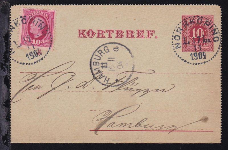 Ziffer 10 Öre mit Zusatzfrankatur ab Norrköping 17.11.1904 nach Hamburg