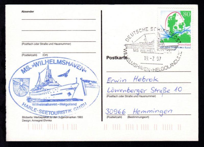 DEUTSCHE SCHIFFSPOST MS WILHELMSHAVEN WILHELSHAVEN-HELGOLANDDIENST 19.7.97 +