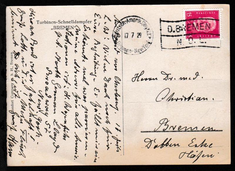 Deutsch-Amerik. Seepost Bremen-New York 17.7.29  D. BREMEN N.D.L. auf AK