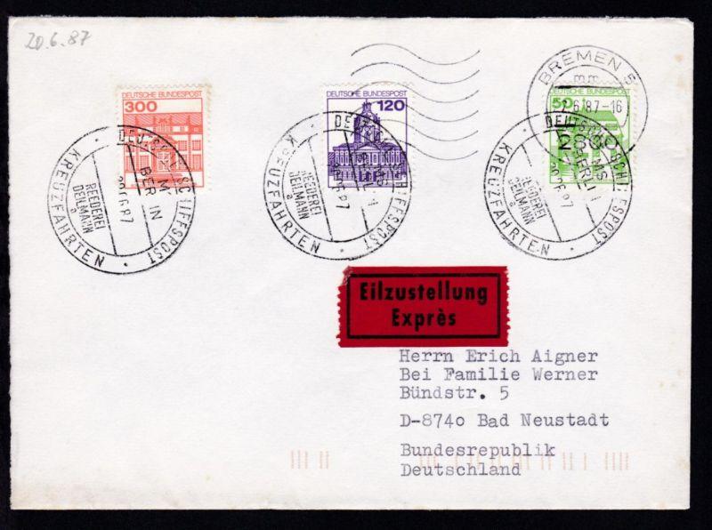 DEUTSCHE SCHIFFSPOST MS BERLIN REEDEREI DEILMANN a KREUZFAHRTEN 20.06.87 + rs