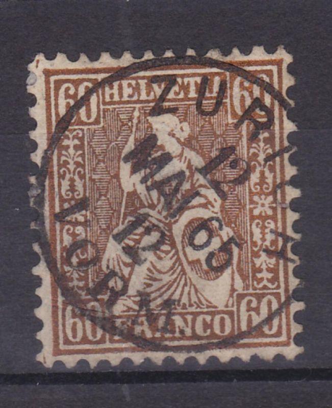Sitzende Helvetia 60 C. mit K1 ZURICH 12 MAI 65