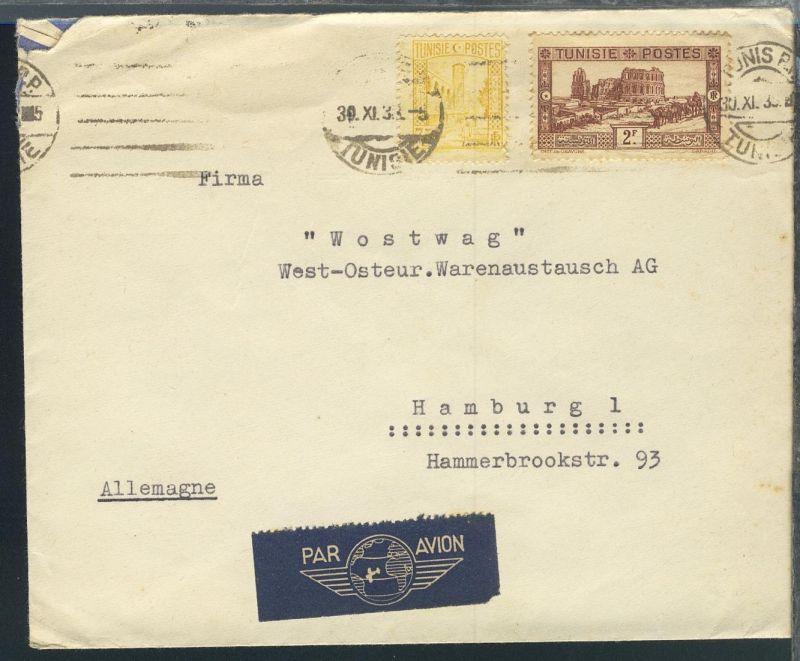 Freimarken 2 Werte auf Luftpost-Brief ab Tunis 30.XI.35 nach Hamburg