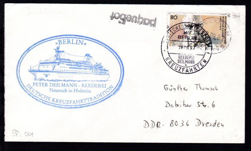 DEUTSCHE SCHIFFSPOST MS BERLIN REEDEREI DEILMANN a KREUZFAHRTEN 28.08.87 +