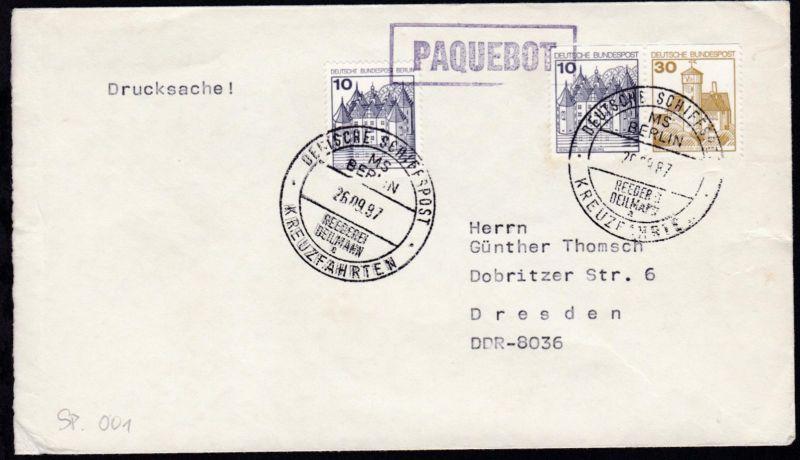 DEUTSCHE SCHIFFSPOST MS BERLIN REEDEREI DEILMANN a KREUZFAHRTEN 26.09.87 + rs