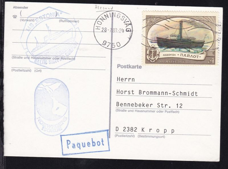 OSt. Honningsvag 28.7.83 + R1 Paquebot + Cachet MS Estonia auf Postkarte