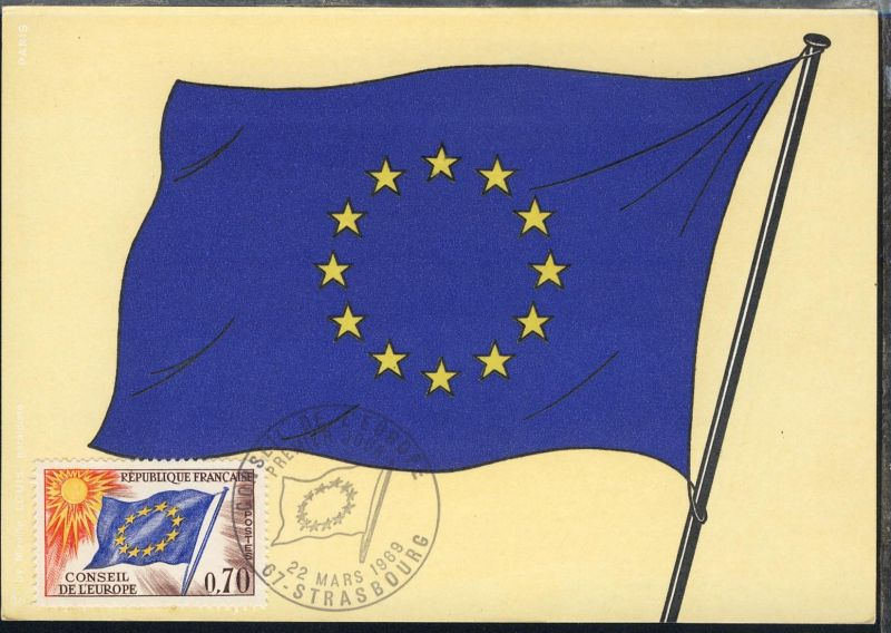 Europafahne 0,70 Fr. auf Maximum-Karte