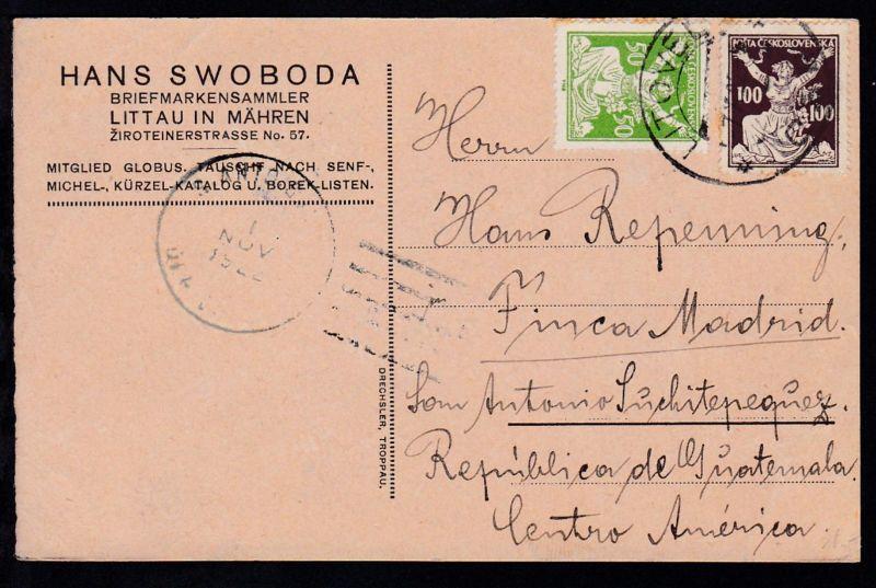 Freimarken 2 Werte auf Postkarte ab Litovel 7.X.22 nach Guatemala