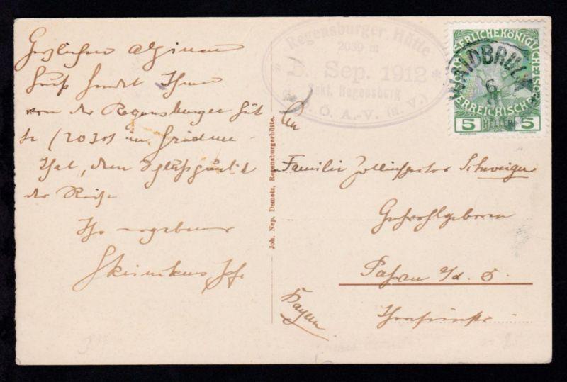 1912 Kaiser Franz Joseph 5 H. auf CAK (Regensburgerhütte mit der Geislergruppe