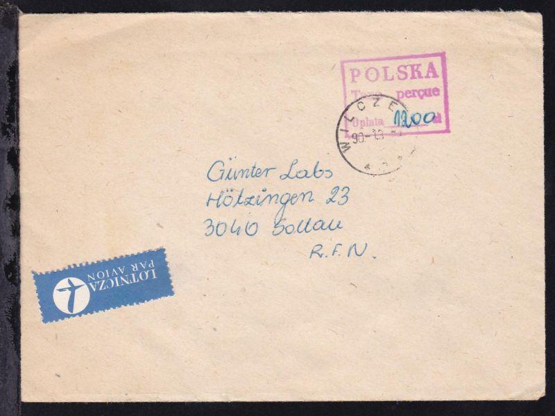 1990 3 Gebühr bezahlt-Brief e aus verschiedenen Orten nach Soltau