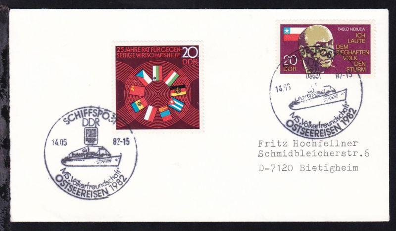SCHIFFSPOST DDR MS. Völkerfreundschaft OSTSEEREISEN 1982 14.05.82 auf Brief