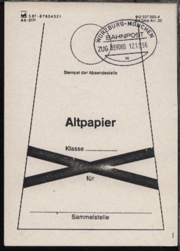 WÜRZBURG-MÜNCHEN w ZUG 039080 12.12.96 auf Beutelfahne