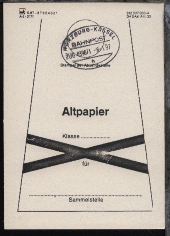 WÜRZBURG-KASSEL h ZUG 039071 8.1.97 auf Beutelfahne