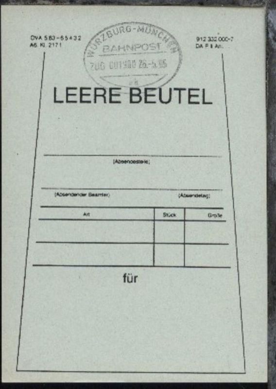 WÜRZBURG-MÜNCHEN ak ZUG 001980 26.5.95 auf Beutelfahne