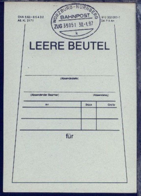 WÜRZBURG-NÜRNBERG k ZUG 39051 30.1.97 auf Beutelfahne