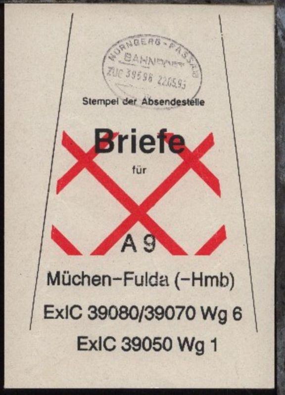 NÜRNBERG-PASSAU m ZUG 39596 22.05.95 auf Beutelfahne