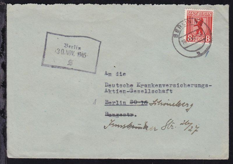 Berliner Bär 8 Pfg. auf Brief ab Berlin N 4 11.11.45 nach Berlin-Schöneberg