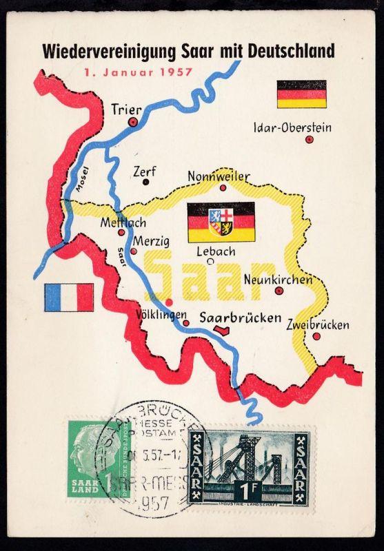 Sonderpostkarte Wiedervereinigung Saar mit Deutschland 1. Januar 1957