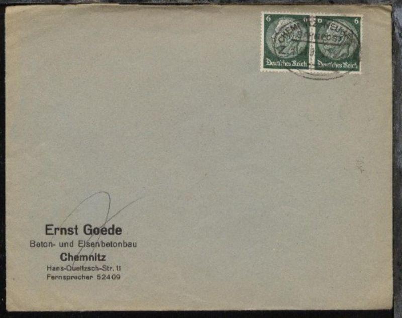 CHEMNITZ-NEUHAUSEN Z. 1319 22.9.37 auf Firmen-Bf. (Ernst Goede, Chemnitz)