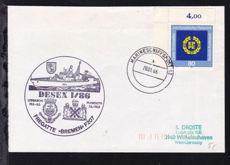 MARINESCHIFFSPOST 62 a 20.01.86 + Cachet Fregatte Bremen DESEX 1/86 auf Brief