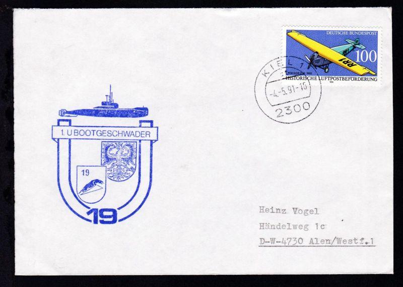 OSt. Kiel 4.5.91 + Cachet U 19 auf Brief