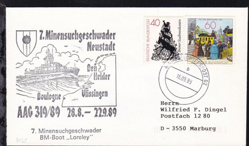 MARINESCHIFFSPOST 62 b 16.09.89 + Cachet 7. Minensuchgeschwader Neustadt