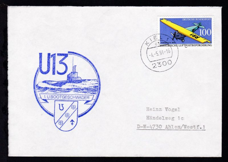 OSt. Kiel 4.5.91 + Cachet U 13 auf Brief