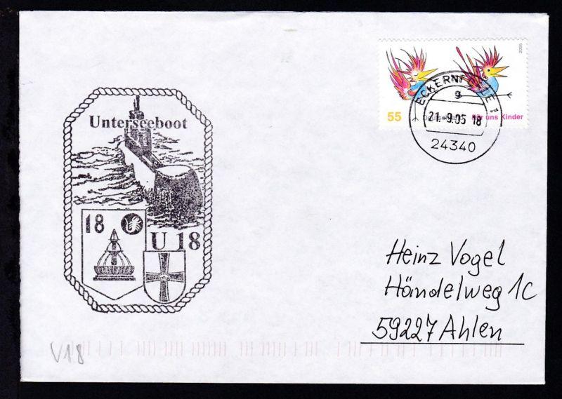 OSt. Eckernförde 21.9.05 + Cachet U 18 auf Brief