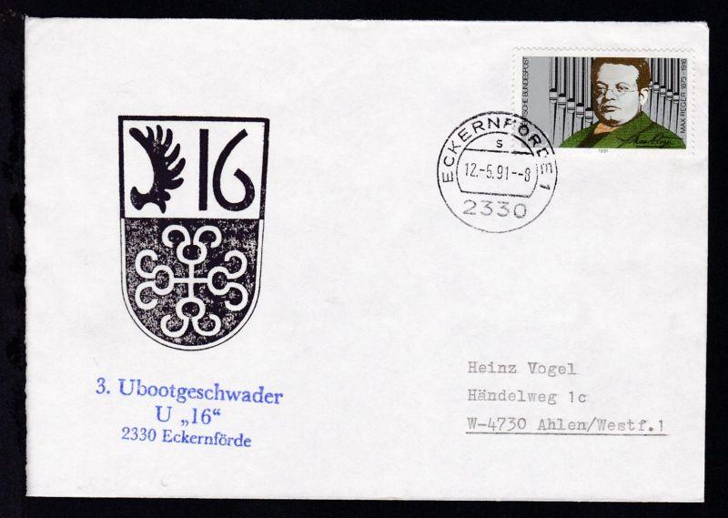 OSt. Eckernförde 12.5.91 + Cachet U 16 auf Brief