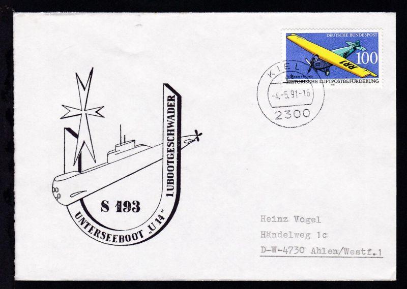 OSt. Kiel 4.5.91 + Cachet U 14 auf Brief