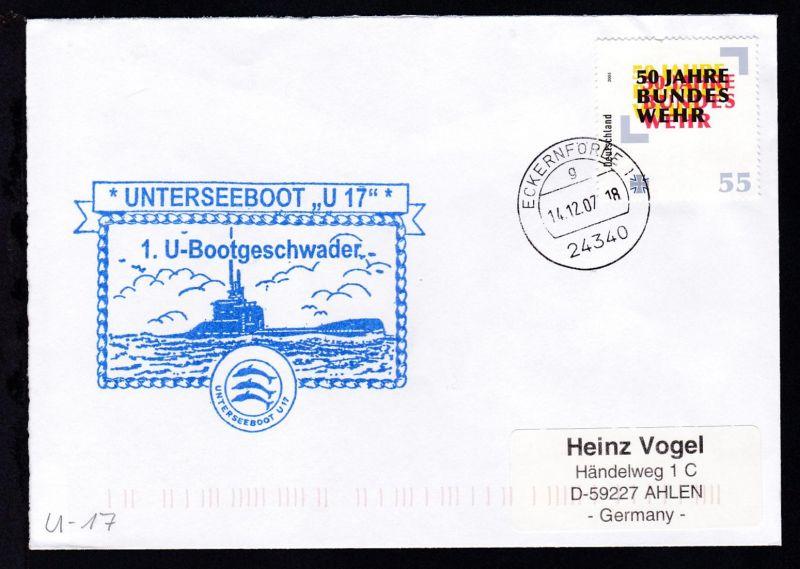 OSt. Eckernförde 14.12.07 + Cachet U 17 auf Brief