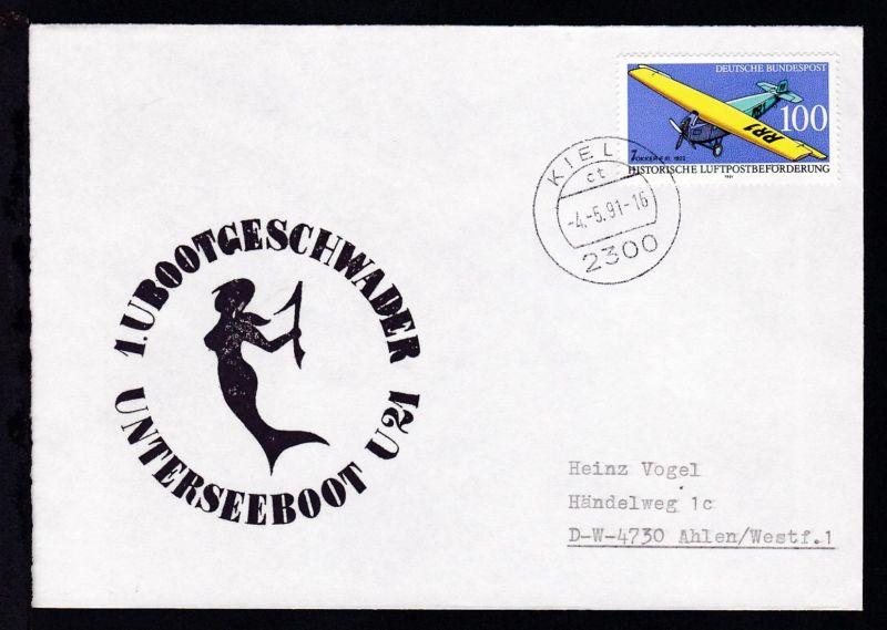OSt. Kiel 4.5.91 + Cachet U 21 auf Brief