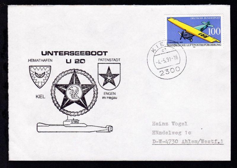 OSt. Kiel 4.5.91 + Cachet U 20 auf Brief