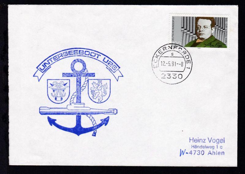 OSt. Eckernförde 12.5.91 + Cachet U 25 auf Brief
