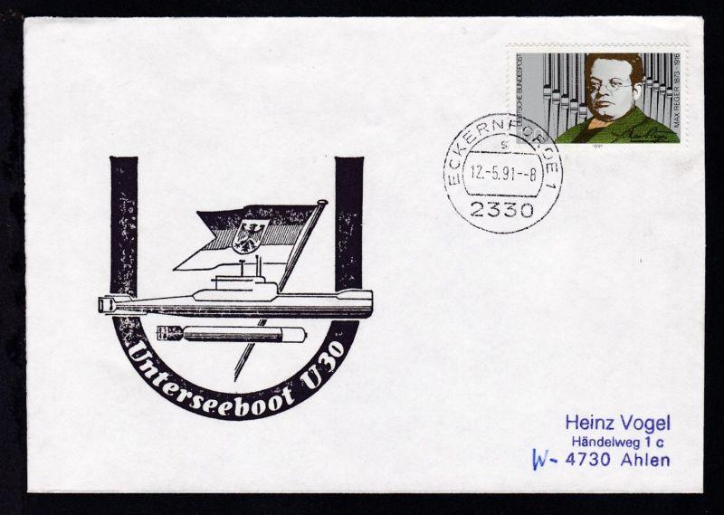 OSt. Eckernförde 12.5.91 + Cachet U 30 auf Brief