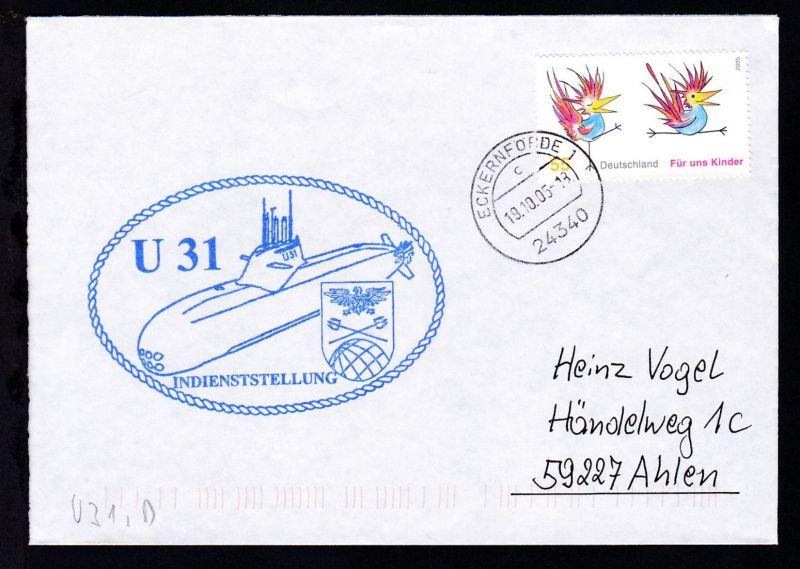 OSt. Eckernförde 19.10.05+ Cachet U 31 auf Brief