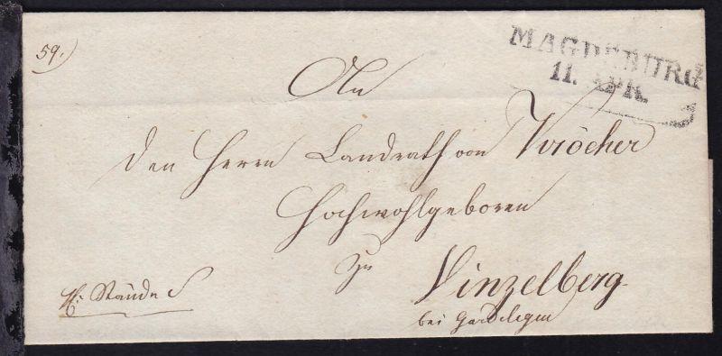 Magdeburg 1826 R2 MAGDEBURG 11 APR. auf Brief nach Vinzelberg bei Gardelegen