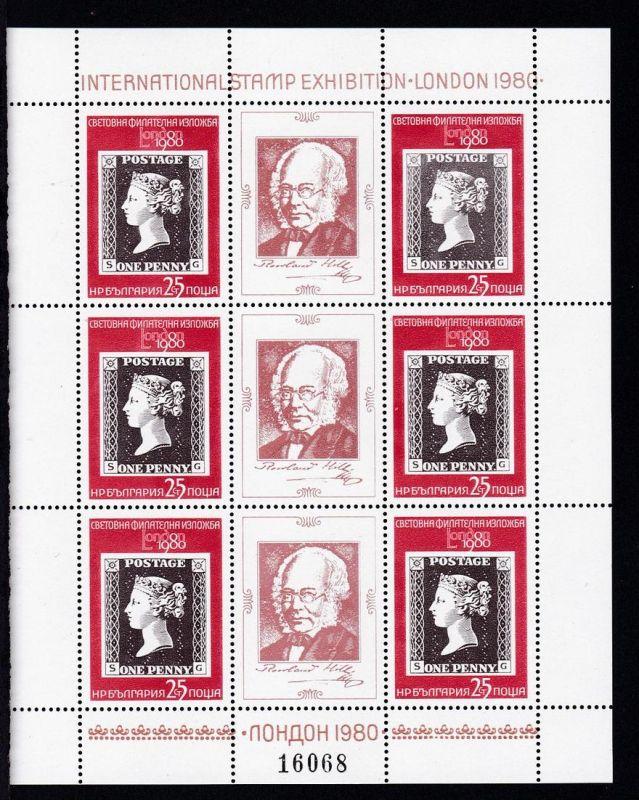 Internationale Briefmarkenausstellung LONDON 1980, Kleinbogen I und II **