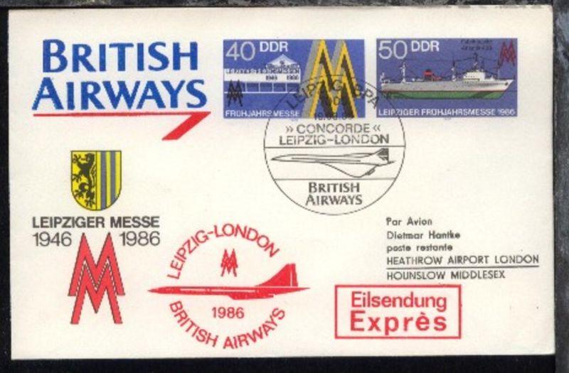 Messesonderflug Leipzig-London 19.3.1986