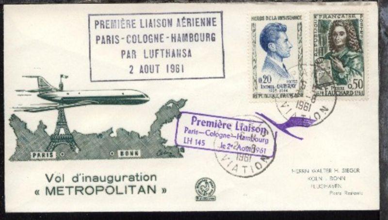 Lufthansa-Erstflug-Bf. Paris-Köln 2.8.1961