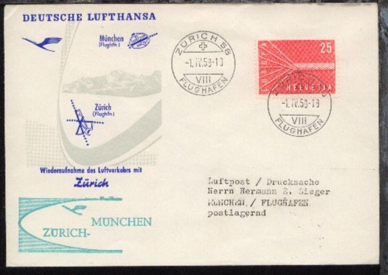 Lufthansa-Erstflug-Bf. Zürich-München 1.4.1958