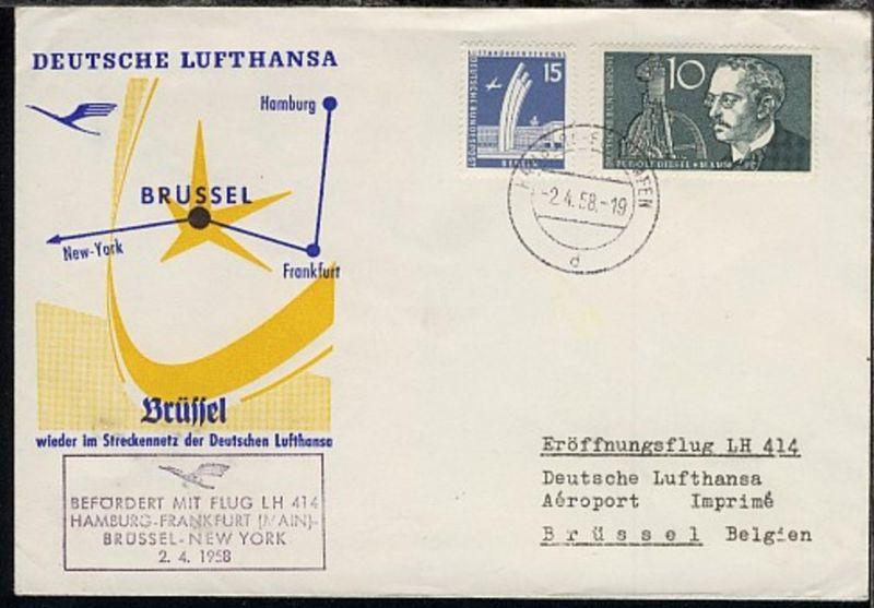 Lufthansa-Erstflug-Bf.Hamburg-Brüssel 2.4.1958