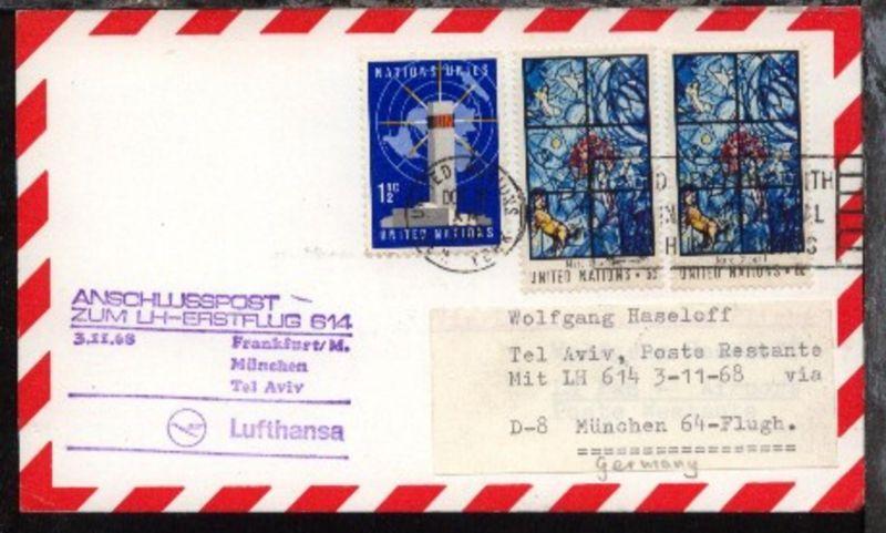 Anschlusspost ab UNO New York OCT 31 1968 zum Lufthansa-Erstflug
